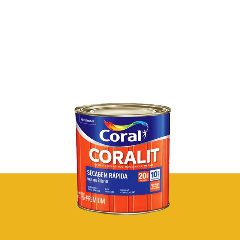 Tinta Esmalte Coralit Secagem Rápida 900mL Amarelo Trator Coral