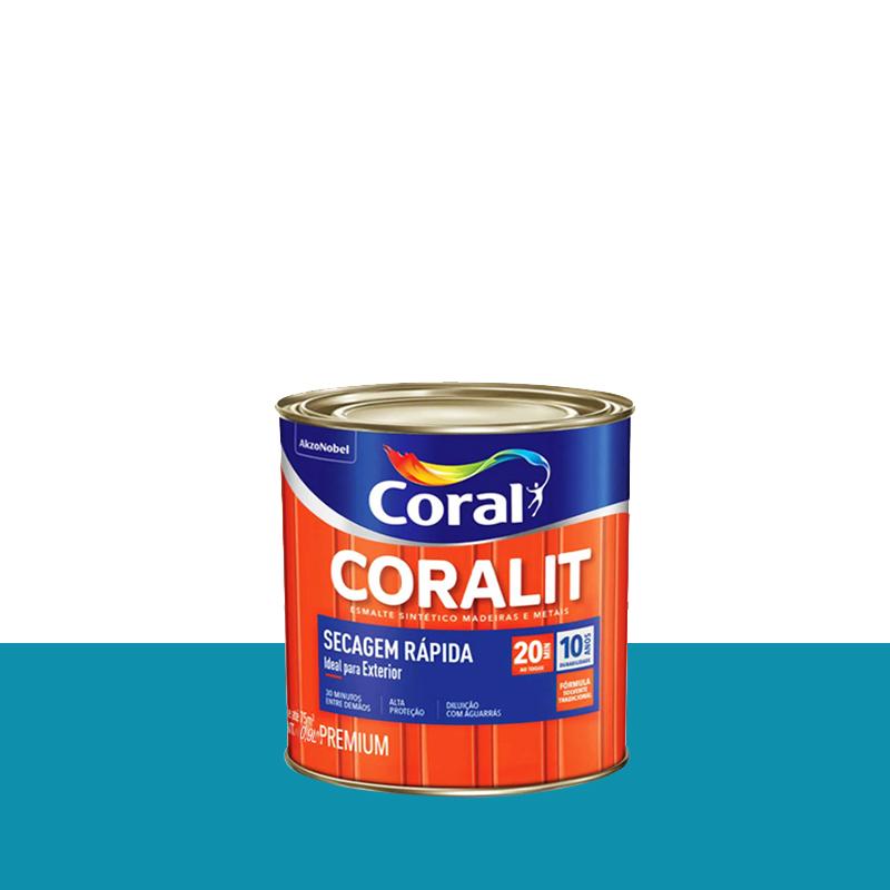 Tinta Esmalte Coralit Secagem Rápida 900mL Azul Mar Coral