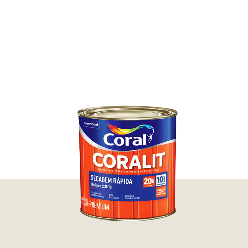 Tinta Esmalte Coralit Secagem Rapida 900mL Branco Gelo Coral