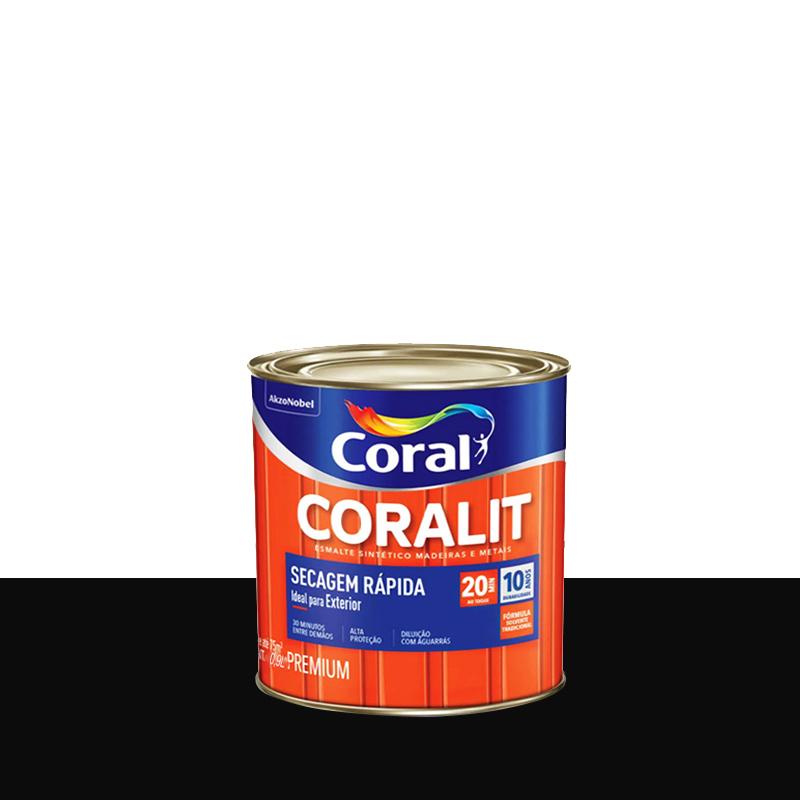 Tinta Esmalte Coralit Secagem Rápida 900mL Preto Coral