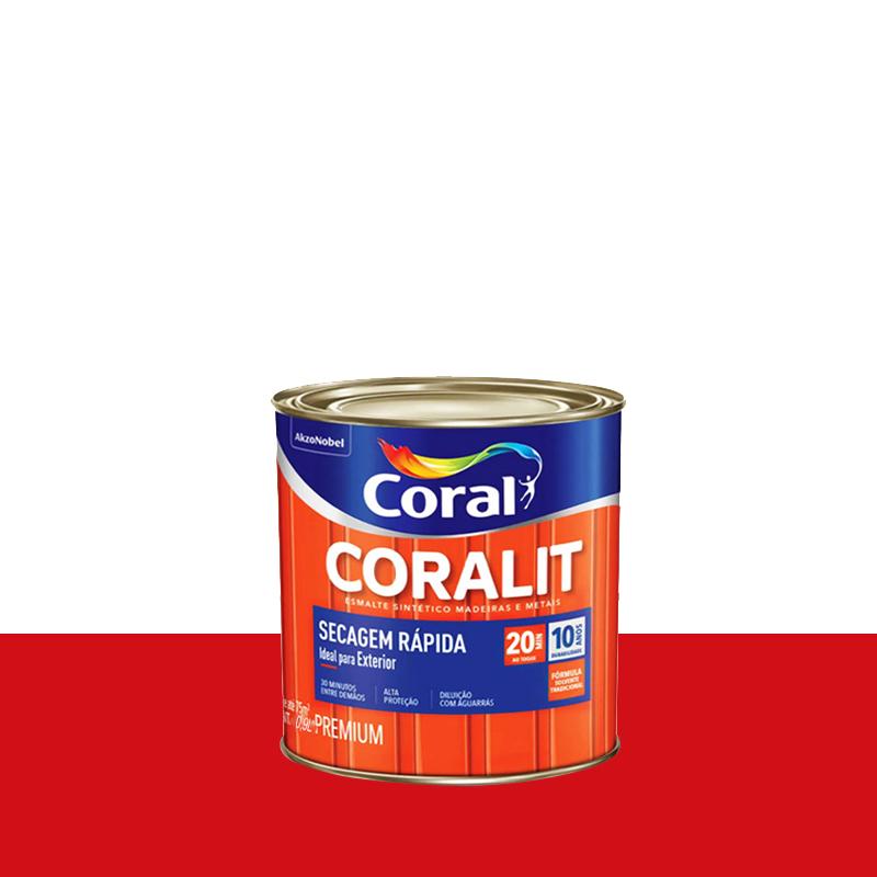 Tinta Esmalte Coralit Secagem Rapida 900mL Vermelho Coral
