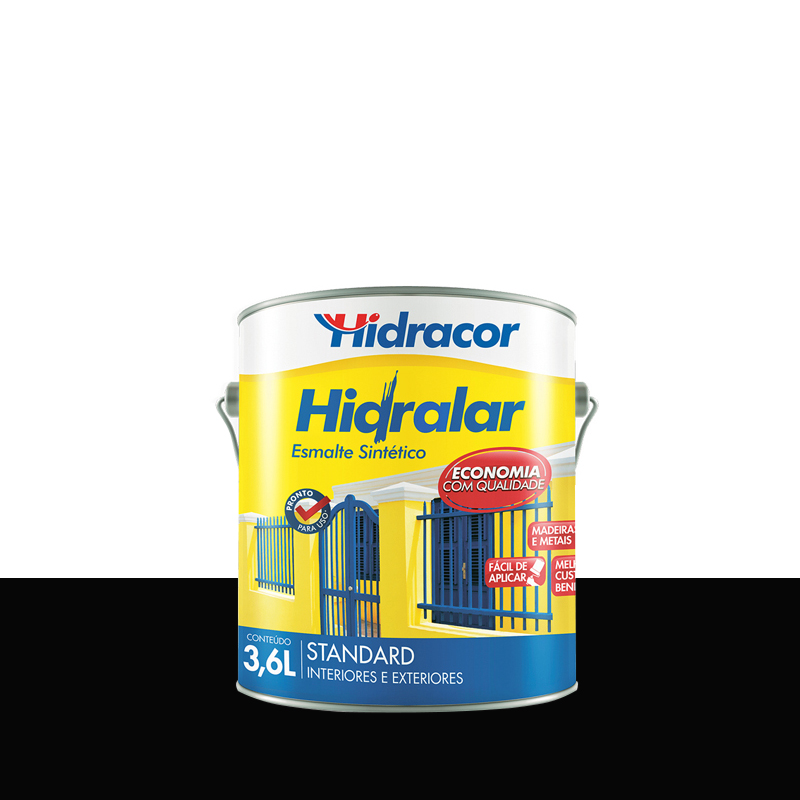 Tinta Esmalte Hidralar 3,6L Preto Hidracor