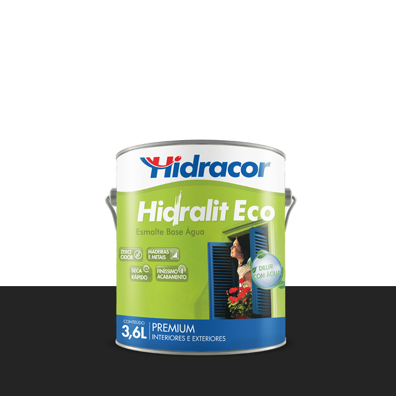 Tinta Esmalte Hidralit Eco 3,6L Preto Hidracor