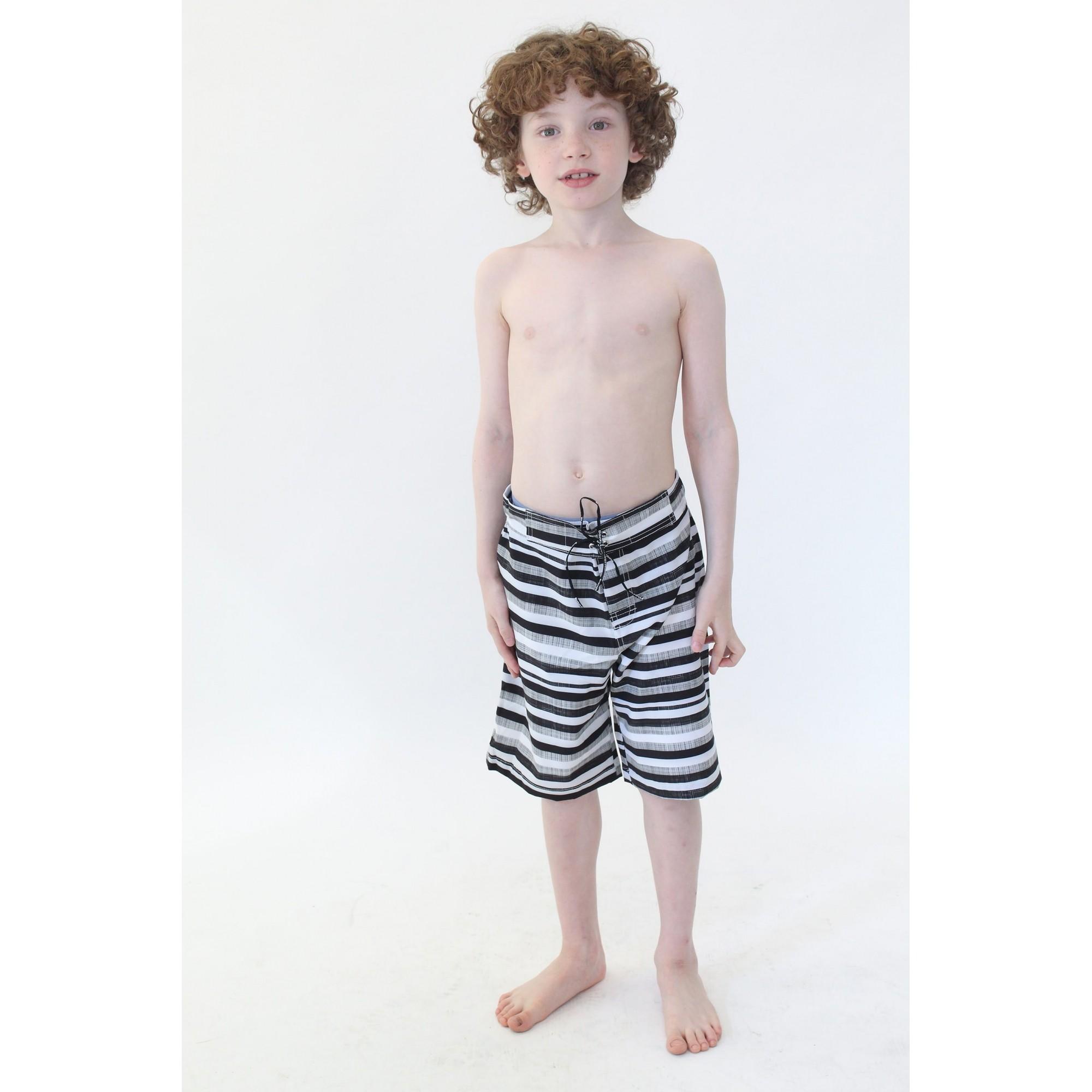 Bermuda Surf Infantil Black Stripes