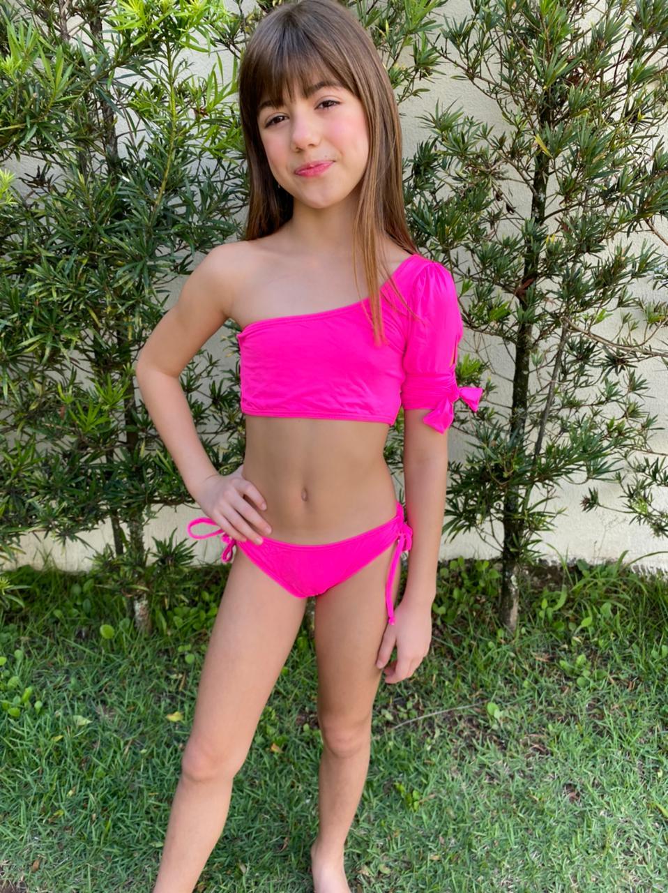 Biquíni Lycra Proteção UPF50+ Chantily Pink Neon - Verão 2021