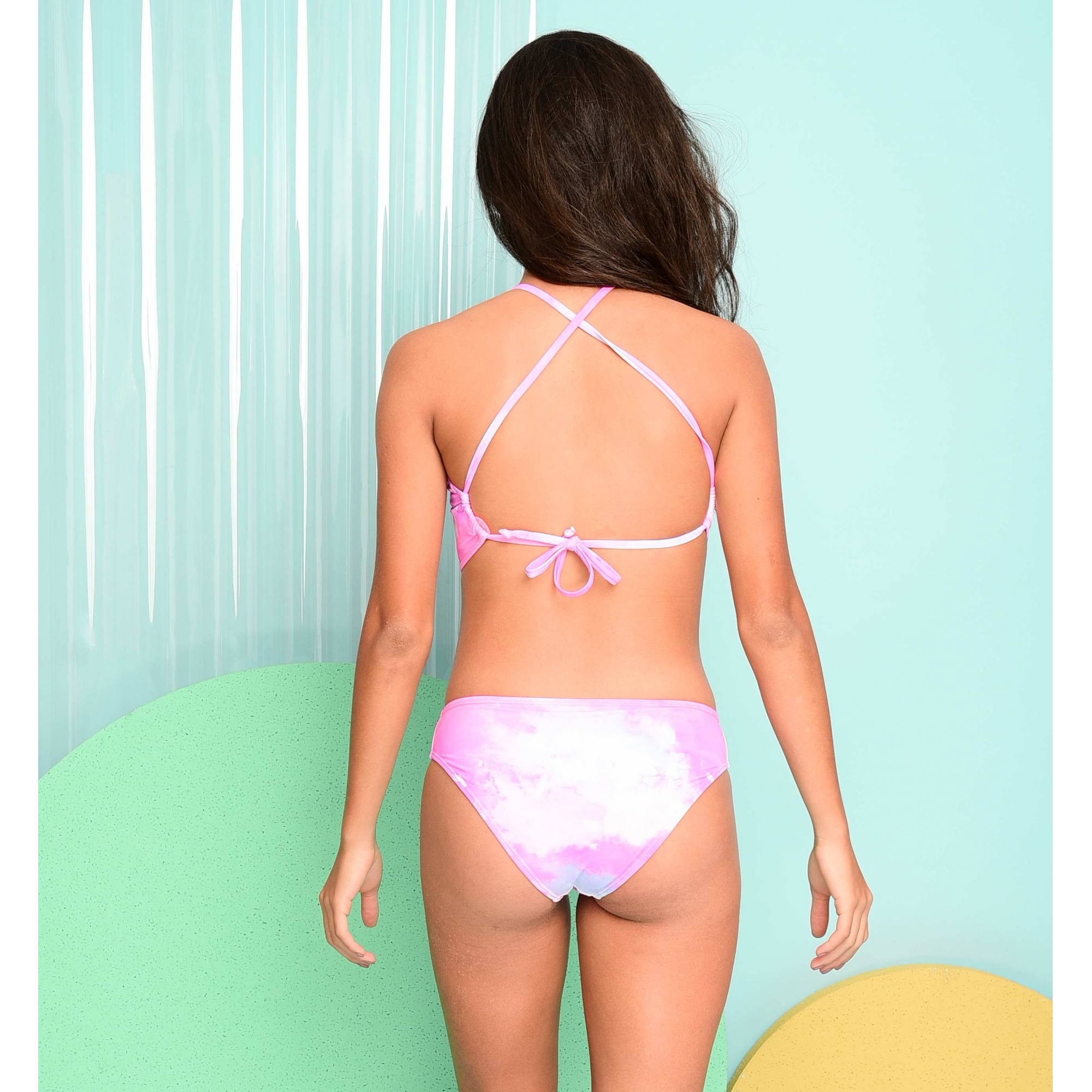 Biquíni Lycra Proteção UPF50+ Top Capri Tie Dye Pink - Verão 2021