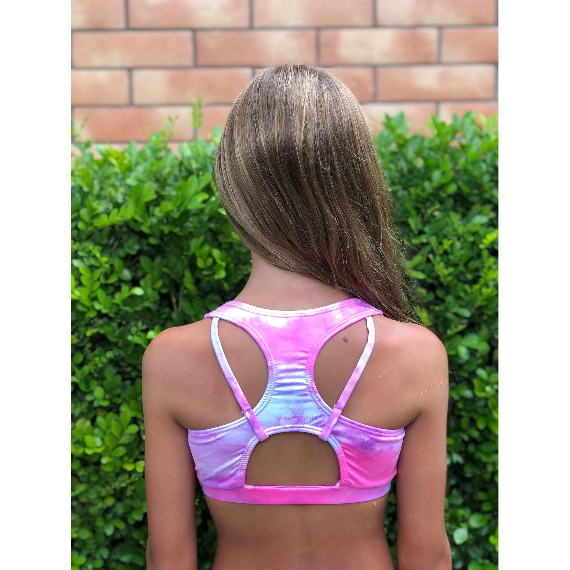 Biquíni Lycra Proteção UPF50+ Top Stripe Tie Dye Pink - Verão 2021
