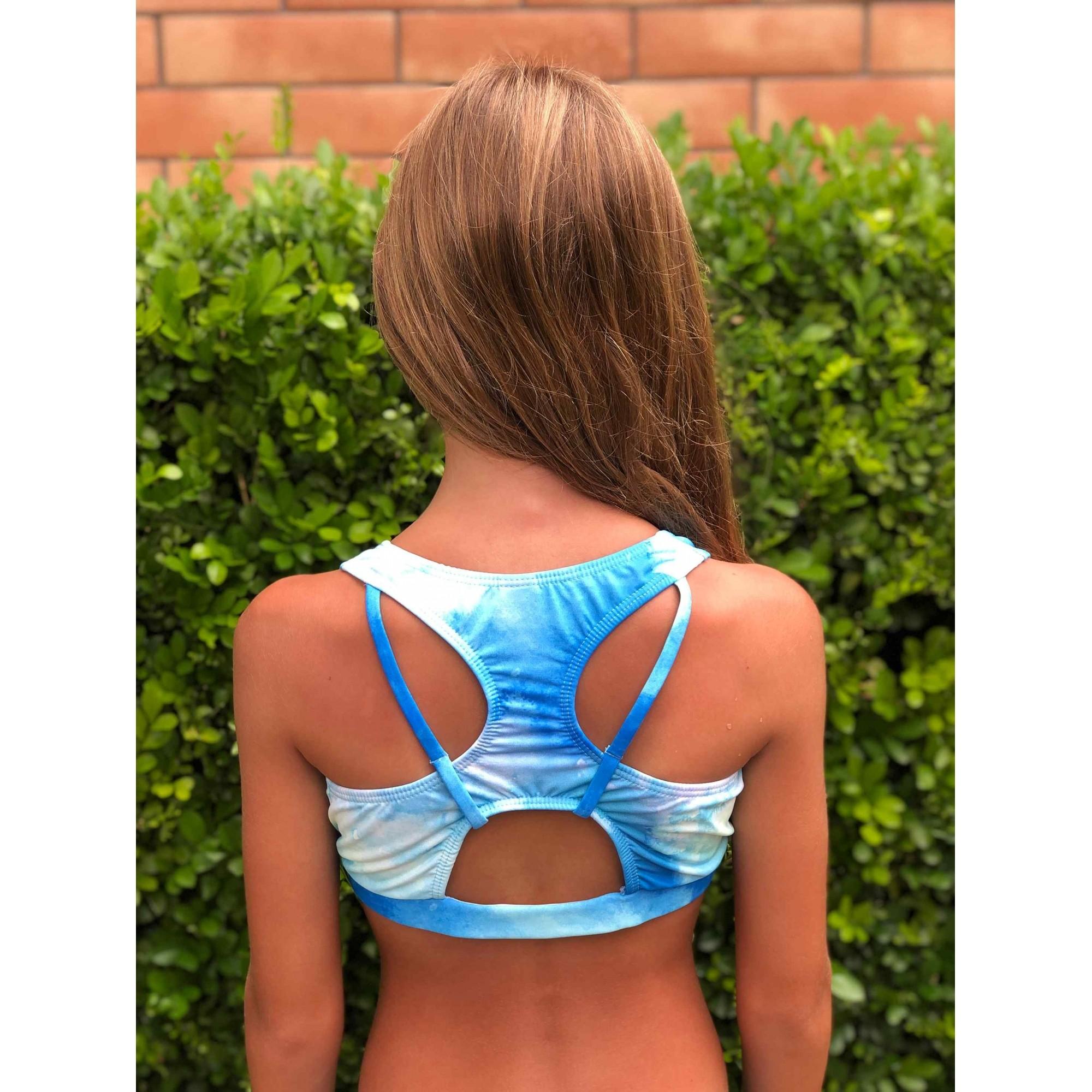 Biquíni Lycra Proteção UPF50+ Top Stripe Tie Dye Waves - Verão 2021