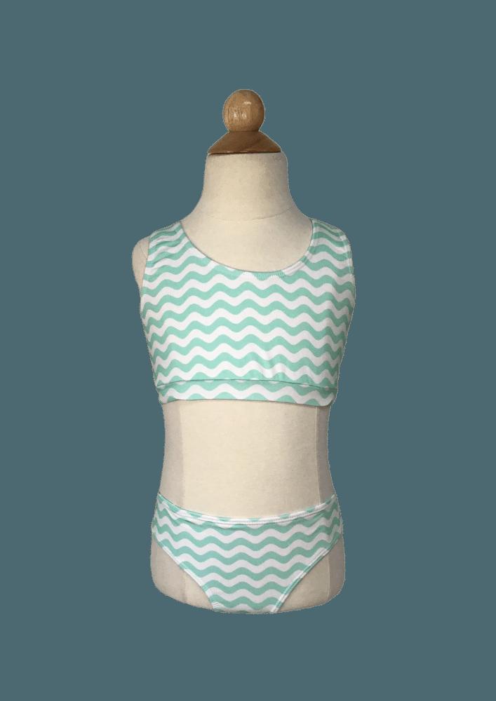 Biquíni Lycra Proteção UPF50+  Top Stripe Wave Green