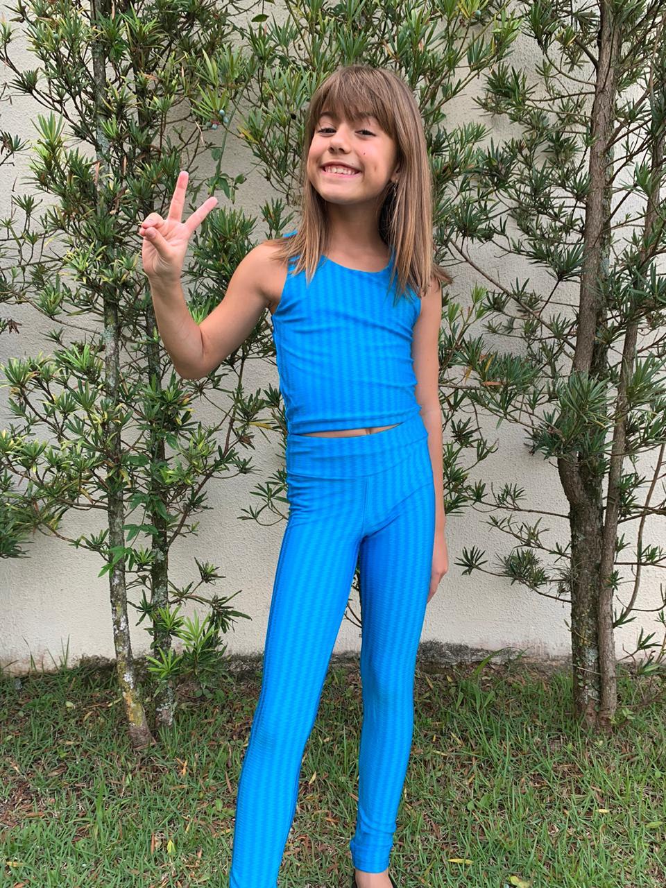 Calça Legging Infantil Azul Turquesa