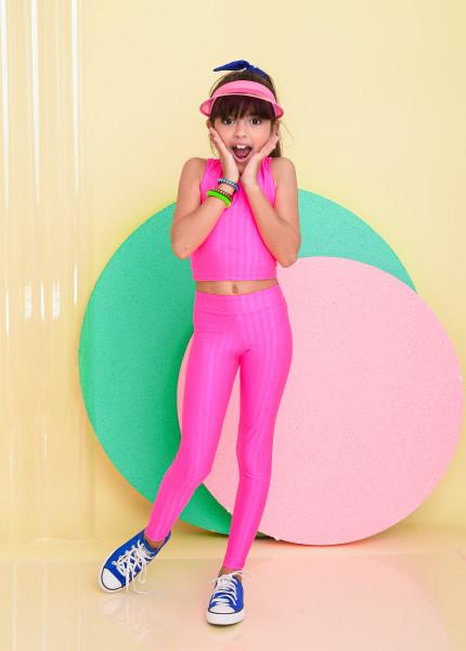 Calça Legging Infantil Rosa Neon