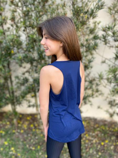 Camiseta Regata  Dry Fit Azul Marinho
