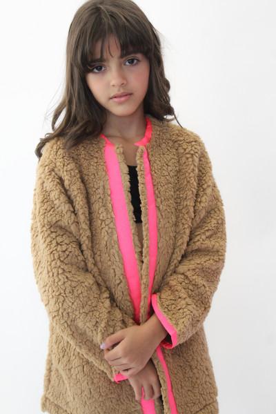 Casaco Wool Caramelo com detalhe pink neon