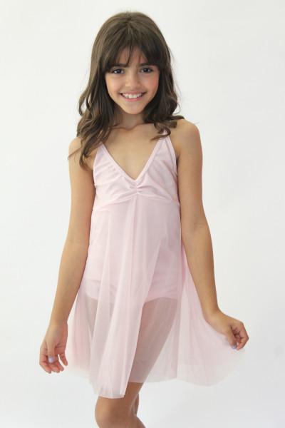 Collant  Vestido Tule - Rosa Claro
