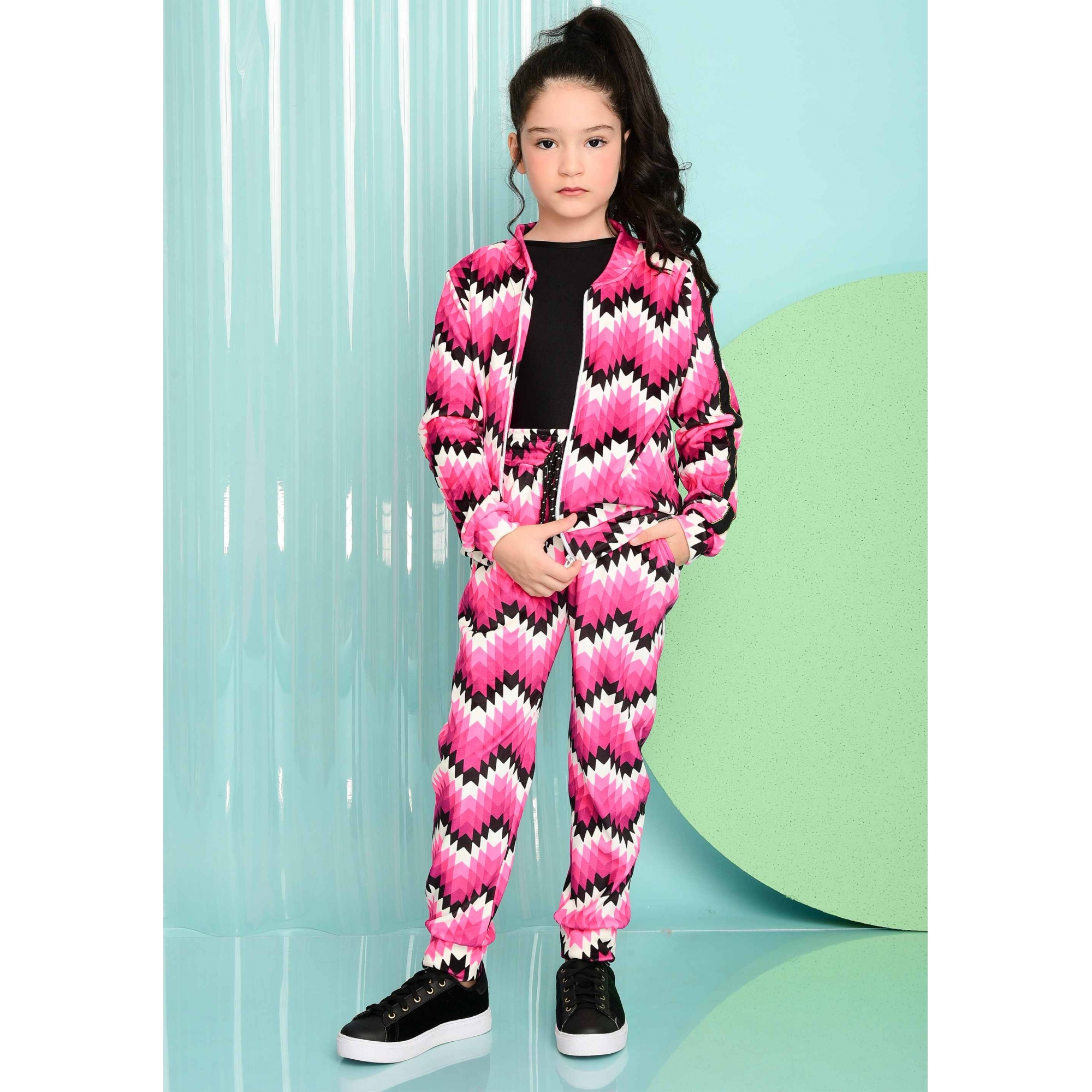 Conjunto Bomber Geometric Pink