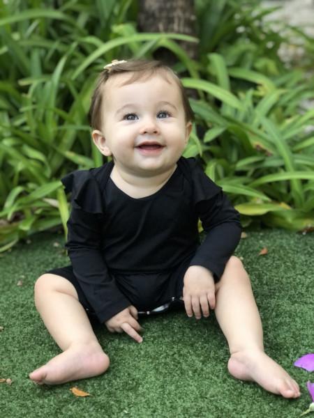 Macacão de Bebê com Proteção UV - Liz Preto