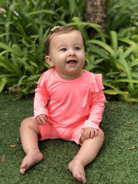 Macacão de Bebê com Proteção UV - Liz Salmão Neon