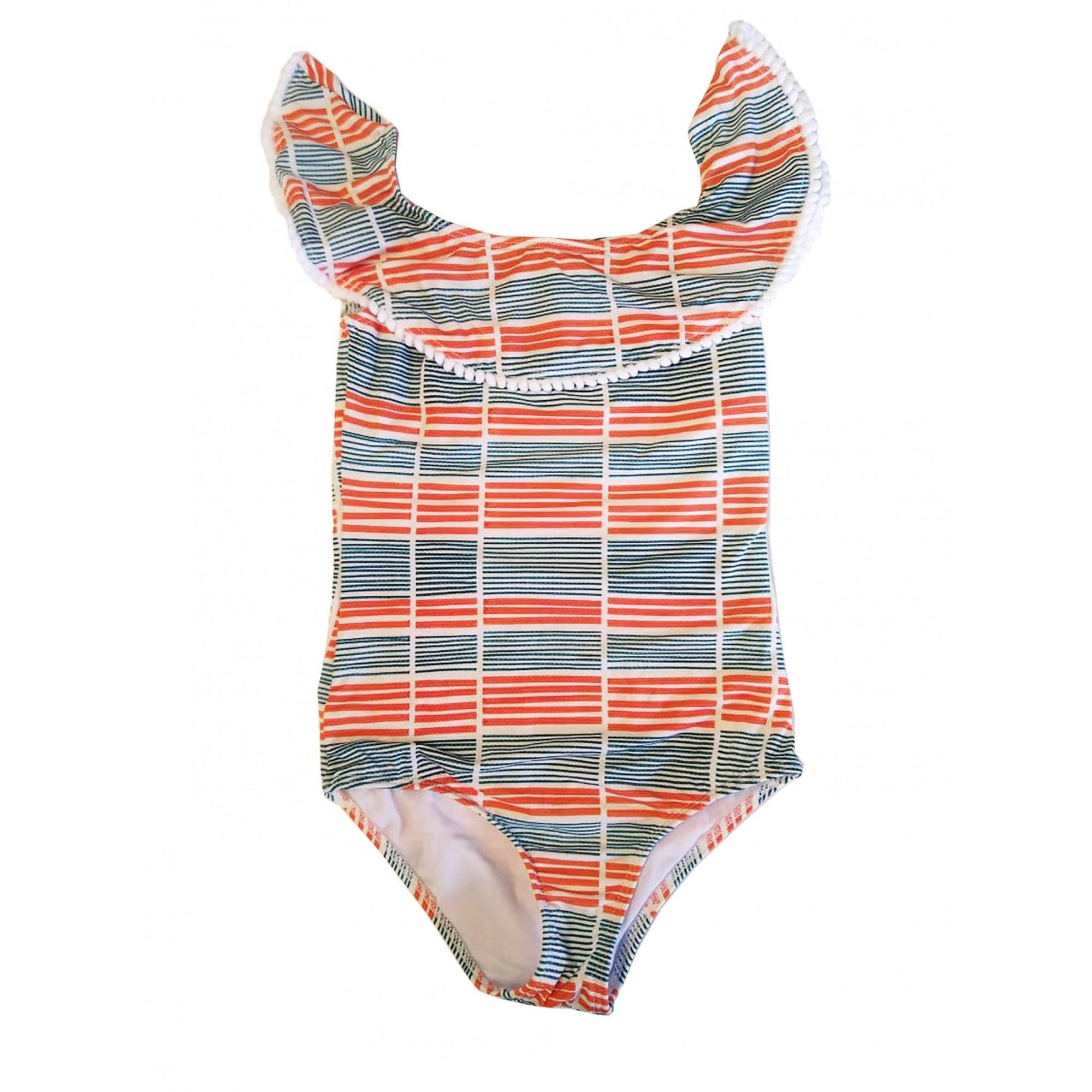 Maiô Lycra Proteção UPF50+ Babado Orange Stripes