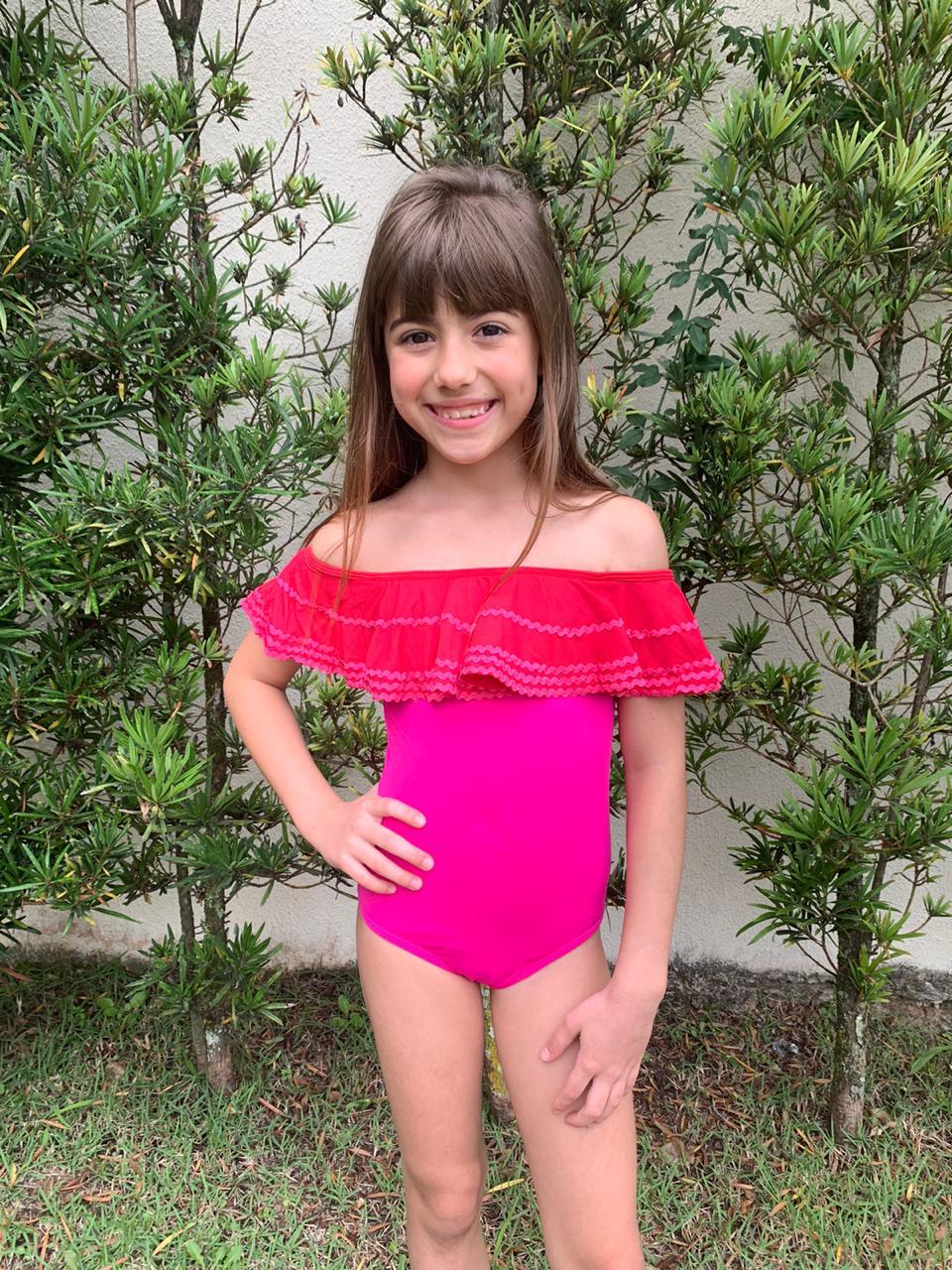 Maiô Lycra Proteção UPF50+ Sianinha Hot Pink - Verão 2020