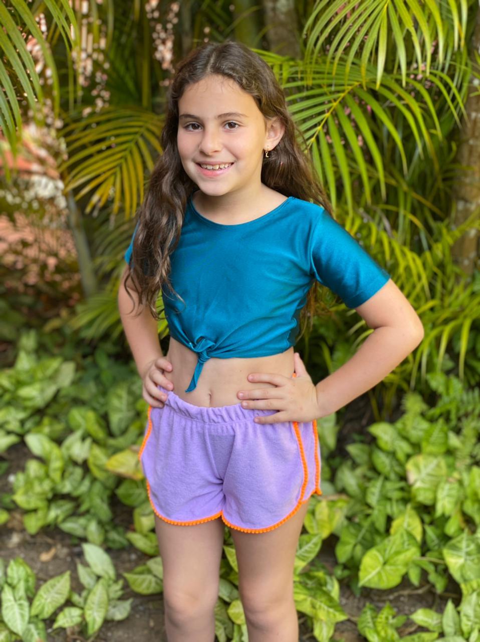 Shorts  Atoalhado Lilás com pompom Laranja
