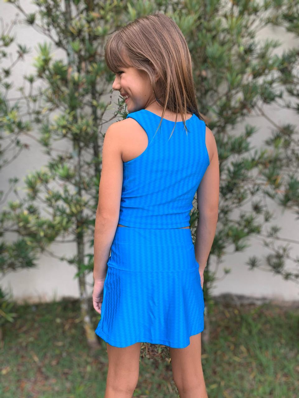 Shorts Saia Infantil Azul Turquesa