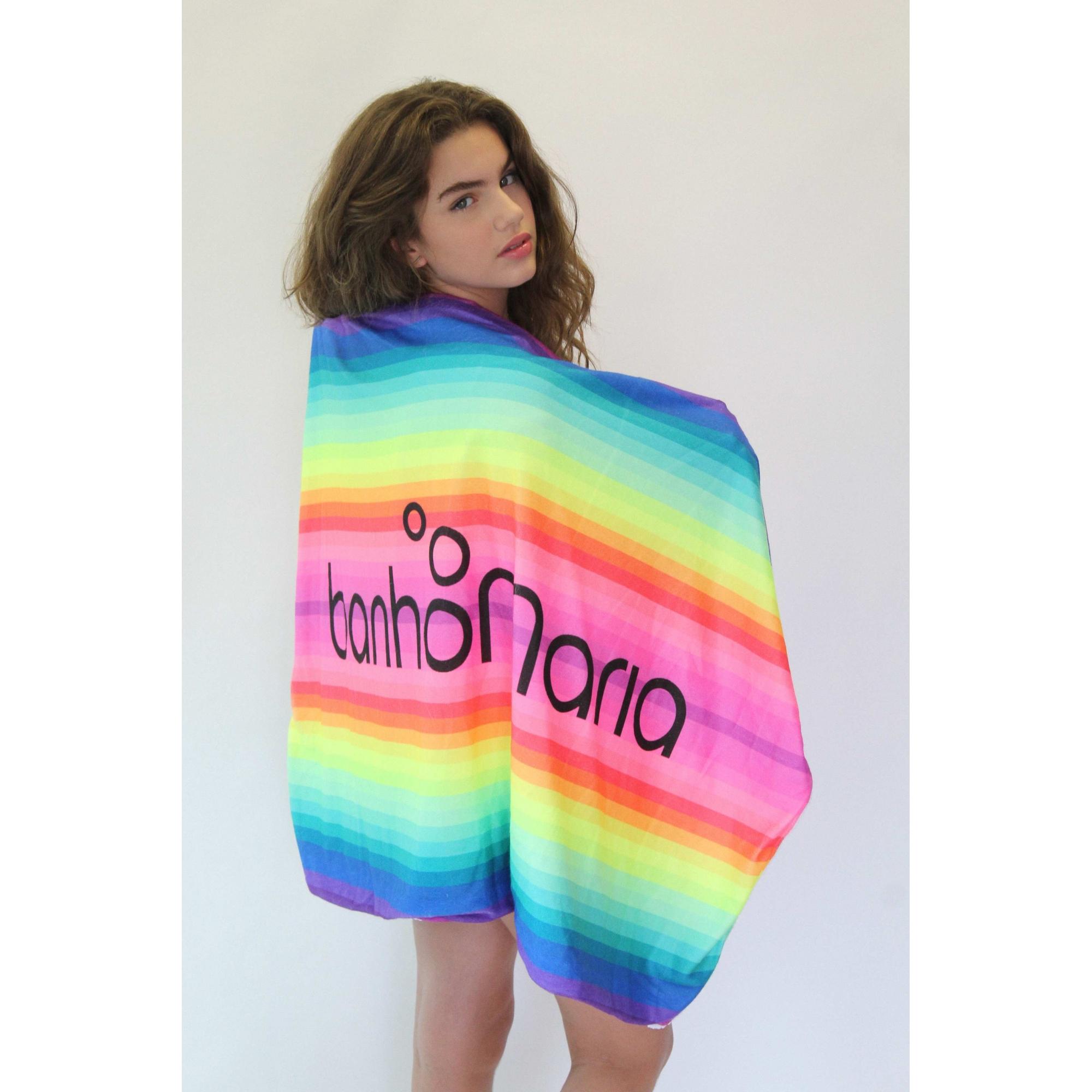 Toalha Venice Rainbow Pompom Branco