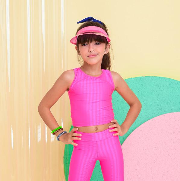 Top Regata Infantil Rosa Neon