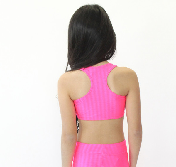 Top Nadador Infantil Rosa Neon