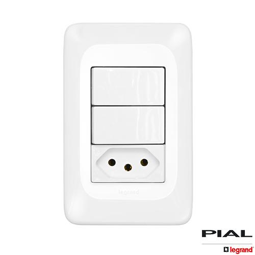 2 Interruptores  Simples  + 1 Tomada 2P+T 10A 4X2 - PIAL PoP