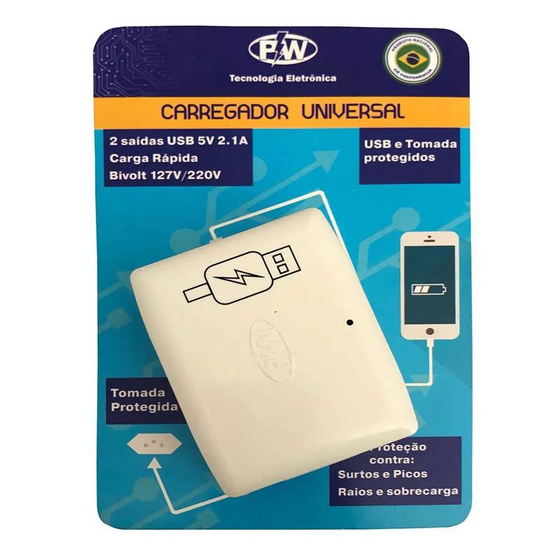 CARREGADOR UNIVERSAL  USB e TOMADA PROTEGIDOS PW