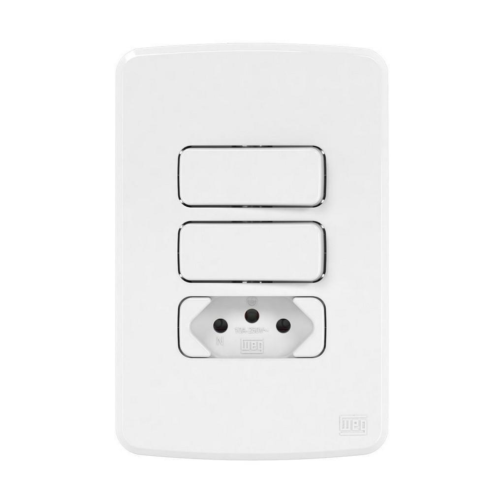 Conjunto 2 Interruptores Simples+Tomada 2P+T 10A (Composé) | Weg
