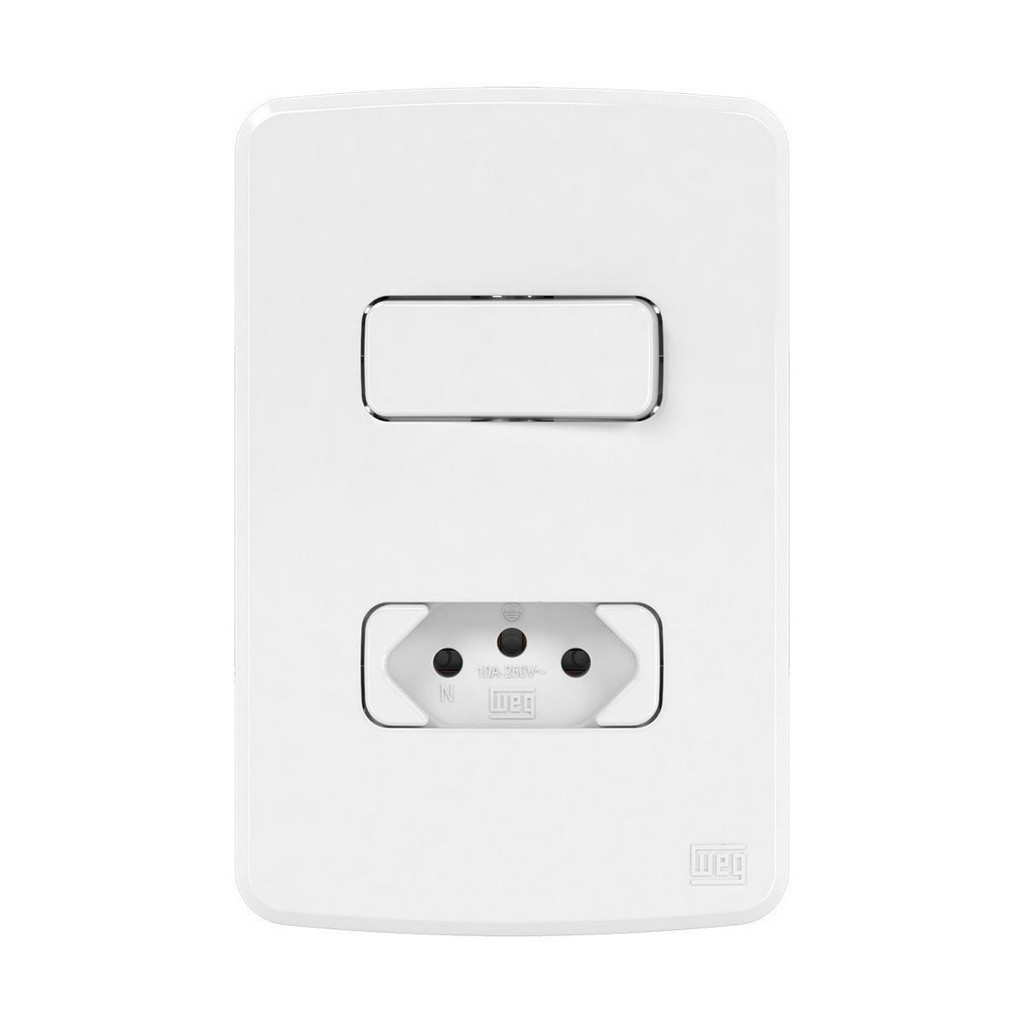 Conjunto Interruptor Simples+Tomada 2P+T 10A (Composé) | Weg