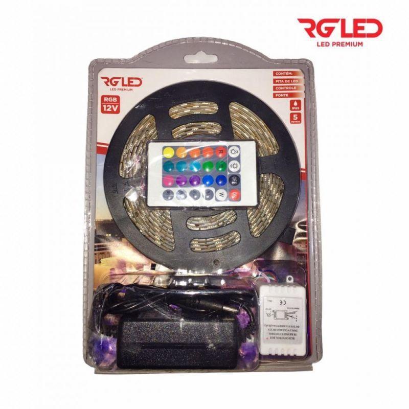 Fita Led RGB  5mt com Fonte  e Controle  RG LED