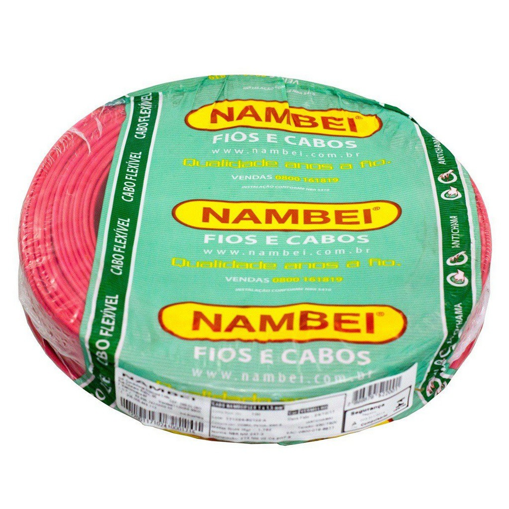 ROLO CABO FLEX 6,00MM VERMELHO NAMBEI