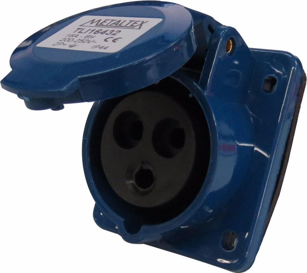 Tomada Painel 16A 2P+E-6H Azul Metaltex