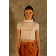 CROPPED TRICOT GOLA ALTA