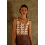CROPPED TRICOT PIED POULE