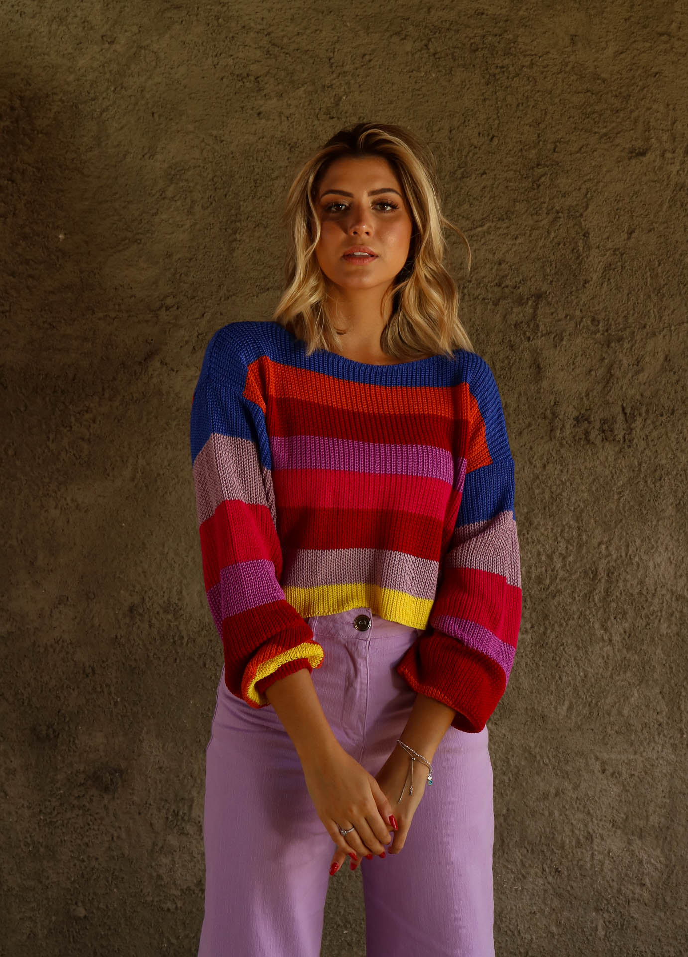 CROPPED TRICOT LISTRAS RAINBOW