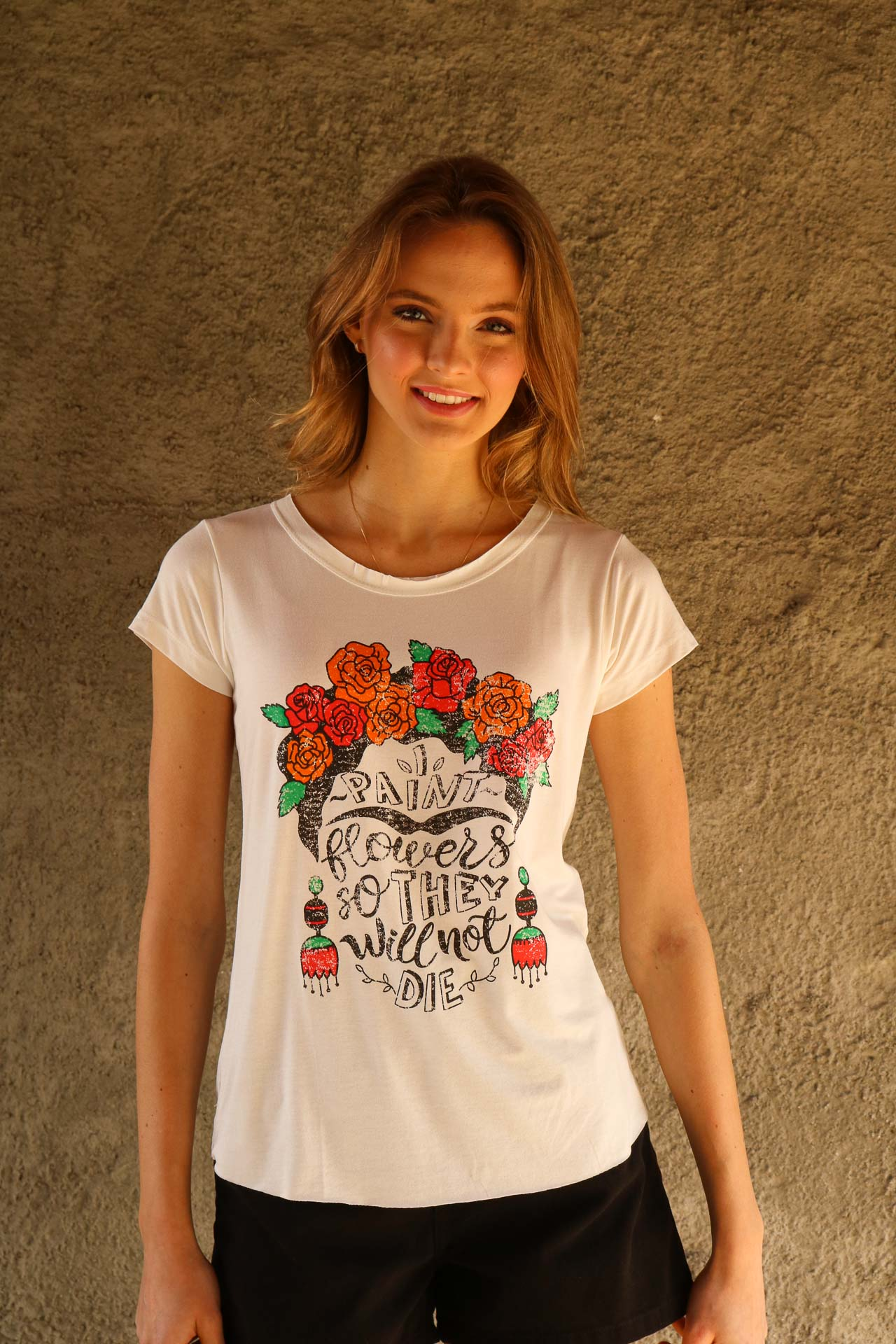 T-SHIRT VISCOLYCRA I PAINT FLOWERS SO THEY WILL NOT DIE