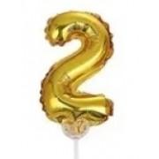 BALAO CAKE TOPPER 5P OURO Nº2