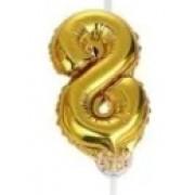 BALAO CAKE TOPPER 5P OURO Nº8