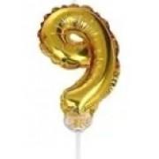 BALAO CAKE TOPPER 5P OURO Nº9