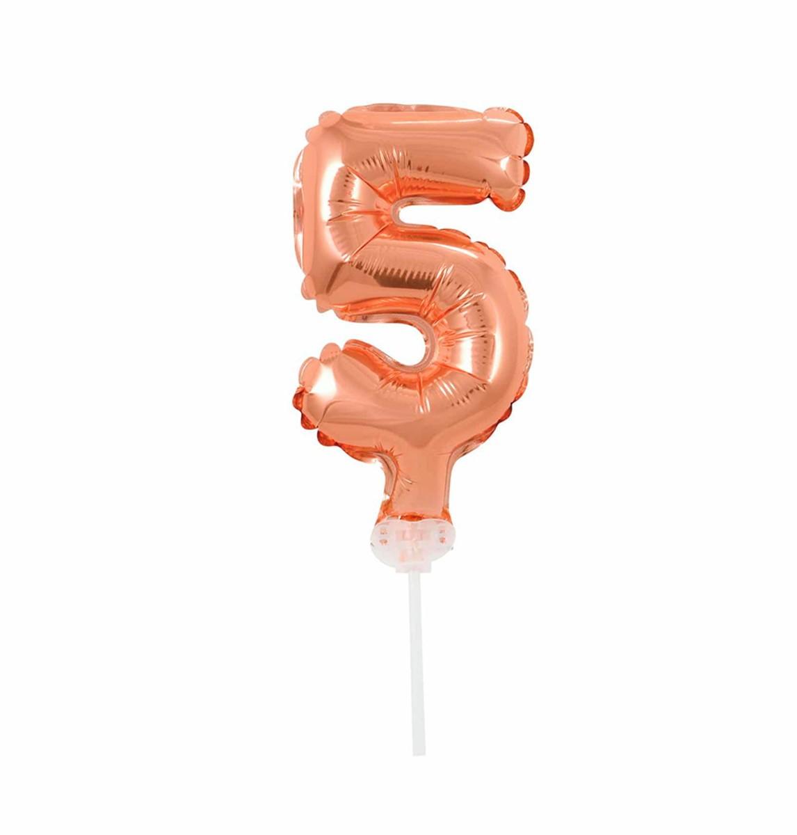 BALAO CAKE TOPPER 5P ROSE GOLD Nº5