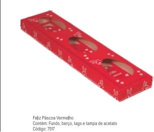 DECORA - CX PASC TRIO 150G FELIZ PASCOA VERM 7517