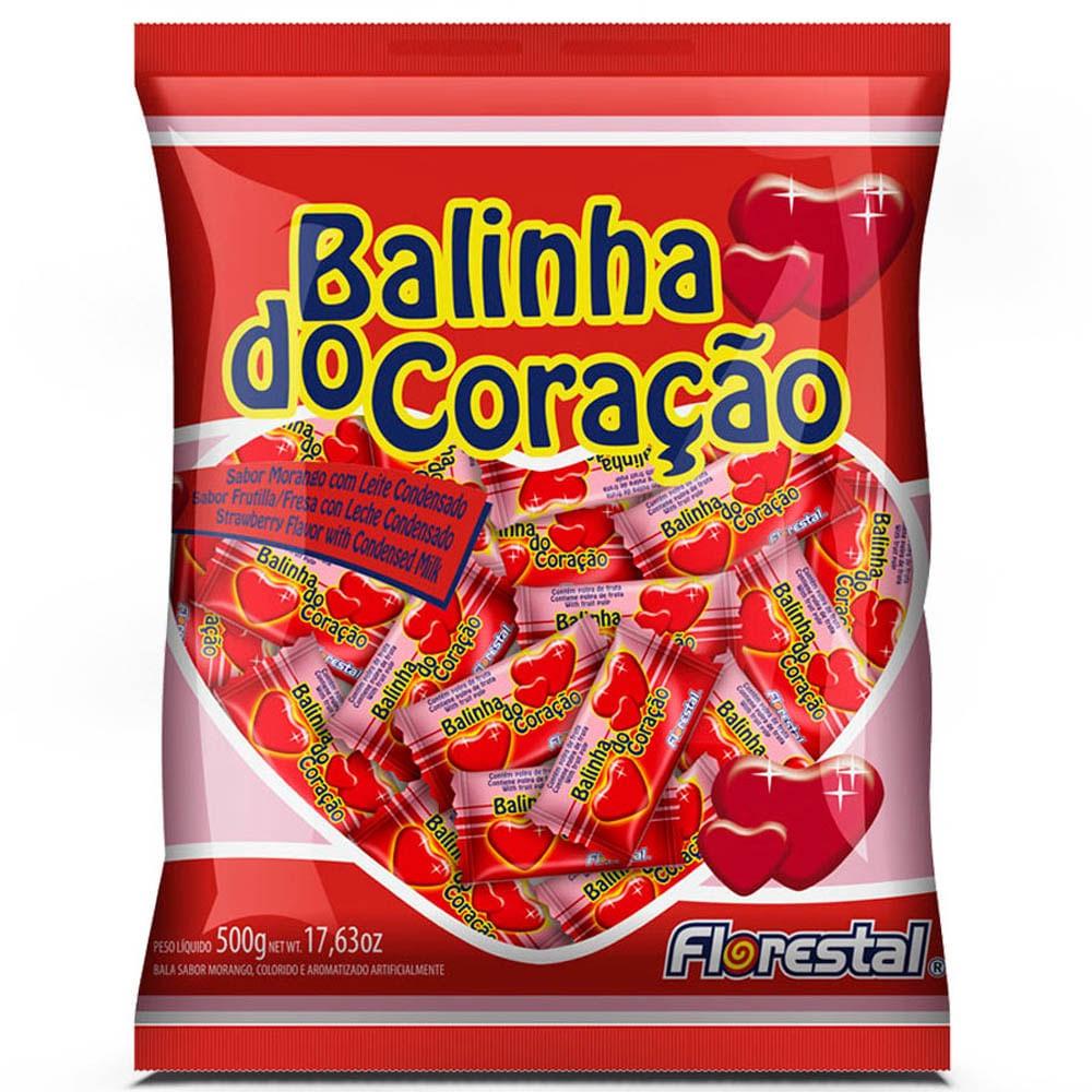 FLORESTAL - BALA 500G CORAÇÃO MORANGO