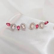 Brinco earcuff pedras rose com zirconias cristal