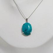 Colar azul com pedra sintetica turquesa