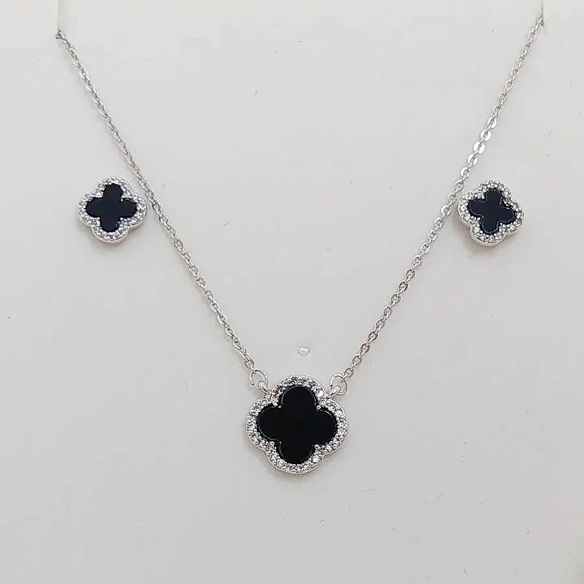 Conjunto vancliff com pedra black e micro zircônias banhada em rodio branco 40cm+5