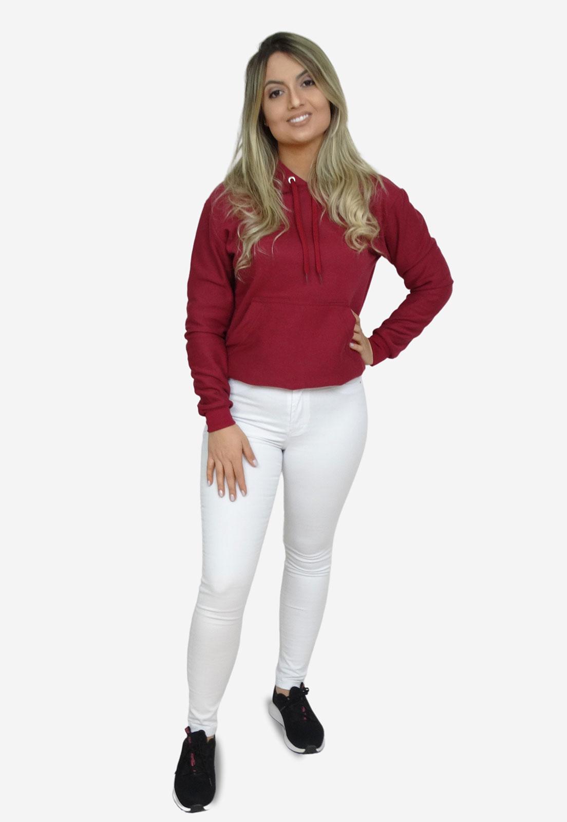 Moletom Liso Blusa De Frio Com Capuz Feminino