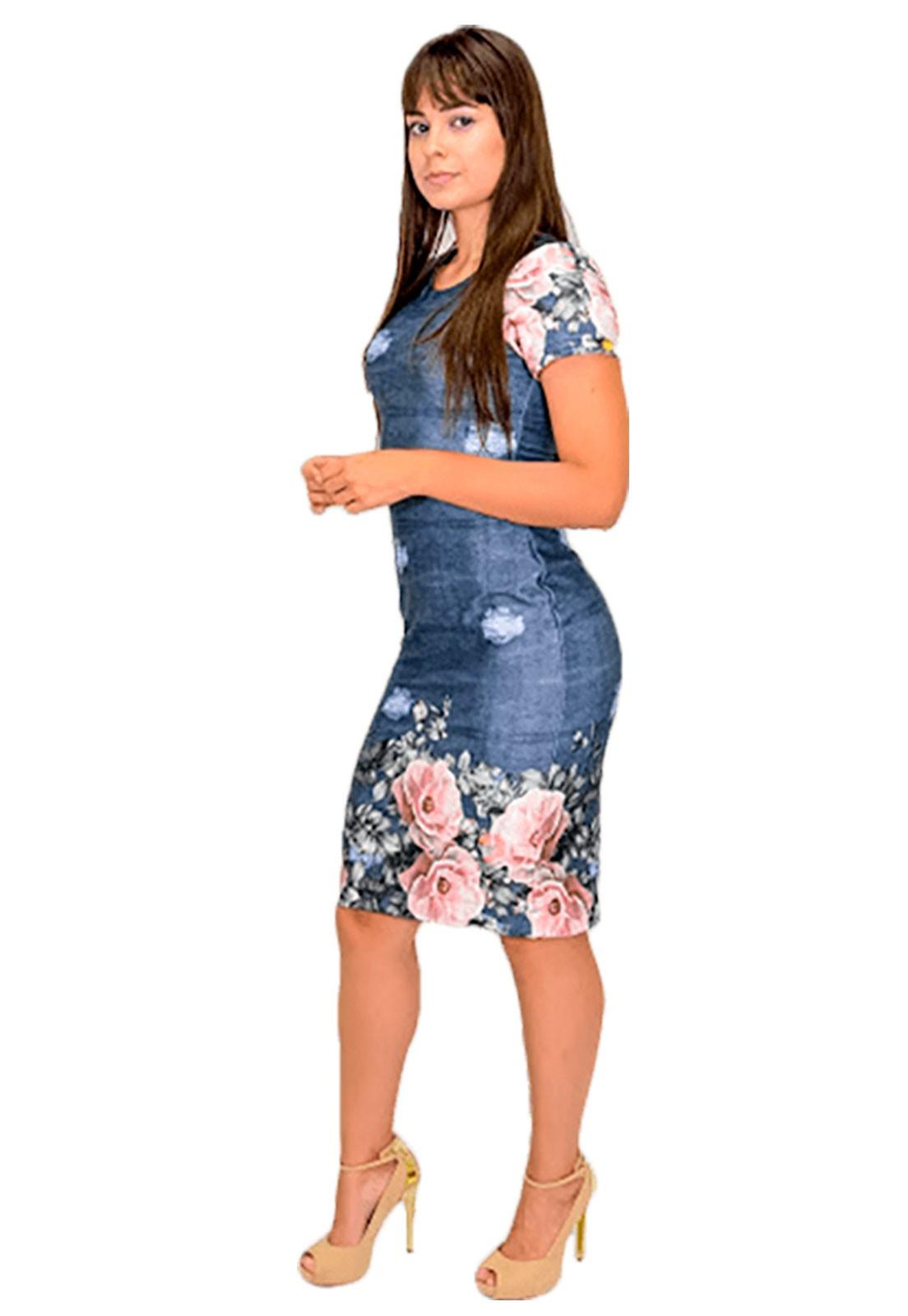 vestido tubinho estampa jeans em neoprene